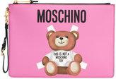 Moschino teddy bear print clutch - women - Polyurethane - One Size