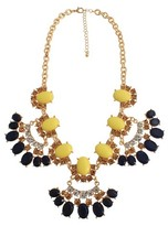 "Women's Statement Necklace with Stones - Gold/Blue (17.5"")"