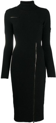 Tom Ford Contrasting Zips Knitted Turtleneck Dress