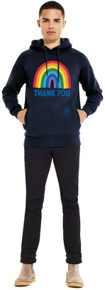 Little Mistress x Kindred Rainbow Thank You NHS Unisex Navy Rainbow Pullover Hoodie With Side Pockets