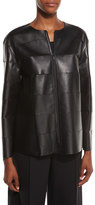 Lafayette 148 New York Murphy Zip-Front Leather Jacket, Black