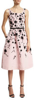 Oscar de la Renta Sleeveless Floral Fit-&-Flare Midi Dress, Peony/Black