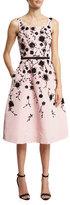 Oscar de la Renta Sleeveless Floral Fit-&-Flare Midi Dress, Peony/Black