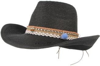 GEMVIE Summer Cowboy Cowgirl Hat Unisex Roll up Brim Fedora Straw Sun Hat Western Cowboy Hat Straw Beach Cap Black