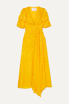 Carolina Herrera Ruffled Fil Coupe Chiffon Midi Dress - Yellow