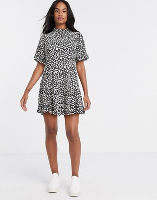 Miss Selfridge high neck mini tea dress in daisy floral print