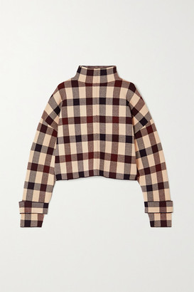 Victoria Victoria Beckham Cropped Checked Stretch-knit Sweater