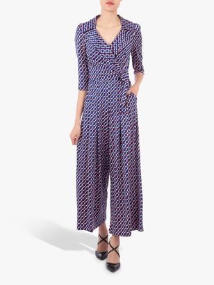 Jolie Moi Geometric Print Cross Over Jumpsuit, Blue/Multi