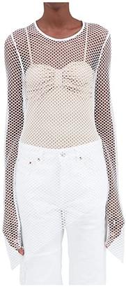 MM6 MAISON MARGIELA Mesh Layering Long Sleeve Top (Off-White) Women's Clothing