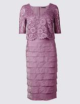 M&S Collection Shutter Pleat Floral Lace Shift Midi Dress