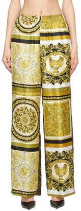 Versace Brown and Gold Silk Barocco Lounge Pants