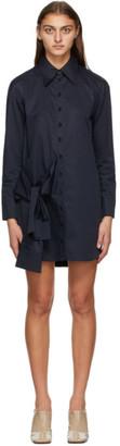 Tibi Navy Poplin Tie Eco Dress