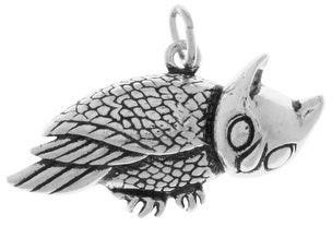 Carolina Glamour Collection Horned Barn Owl Sterling Silver Bird Pendant