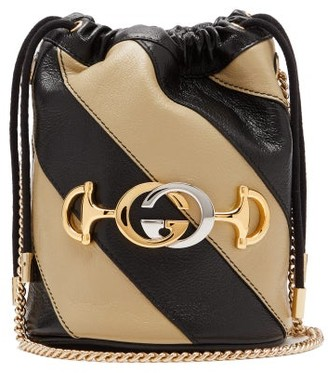 Gucci Zumi Marmont Leather Bucket Bag - Black White