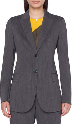 Akris Long 2-Button Cool Wool Crepe Jacket