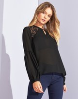 Only Long Sleeve Lace Detail Top