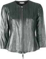 Desa 1972 - collarless leather jacket - women - Cotton/Leather - 40