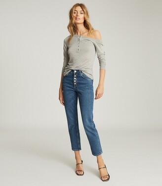 Reiss Bexley - Off-the-shoulder Jersey Top in Grey