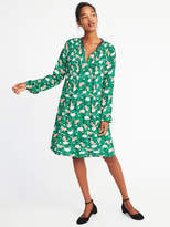 Old Navy Floral-Print Pintucked Swing Dress for Women