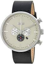 Vestal 'Roosevelt Chrono' Quartz Stainless Steel and Leather Dress Watch, Color:Black (Model: RSTCL06)