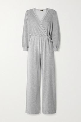 SUZIE KONDI Wrap-effect Cotton-blend Velour Jumpsuit - Light gray