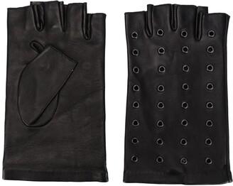 Karl Lagerfeld Paris Grommet-Embellished Fingerless Gloves