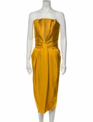 Brandon Maxwell Strapless Knee-Length Dress Yellow