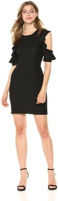 BCBGeneration Women's Cold Shoulder Ruffle Bandage Dress