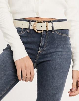 ASOS DESIGN half-moon twist buckle waist and hip jeans belt in croc