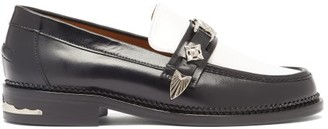 Toga Western-strap Leather Loafers - Womens - Black White