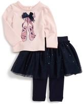 Nanette Lepore Infant Girl's Ballet Slipper Top & Glitter Tutu Skirt Leggings