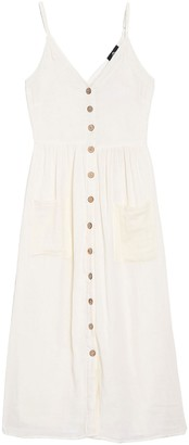 Angie Button Front Patch Pocket Midi Dress