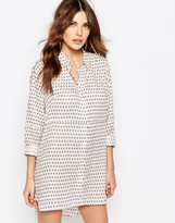 French Connection Oversized Shirt Dress in Bacongo Dot Print