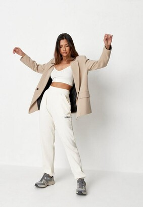 Missguided Cream Co Ord Rib Embroidered Spring Summer Joggers