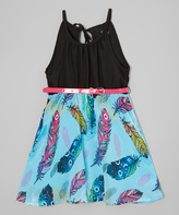 Dollhouse Black & Teal Feather Halter Dress - Infant Toddler & Girls
