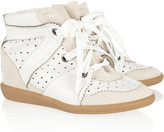 Betty leather and suede wedge sneakers