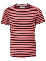 Jeanswest Trev Short Sleeve Stripe Crew Tee-Mineral Red Multi-S