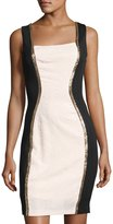 Jax Sleeveless Jacquard Sheath Dress, Pink/Black