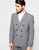 Antony Morato Double Breasted Prince Of Wales Check Suit Jacket In Slim Fit - Grey