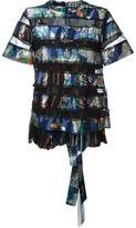 Sacai souvenir scarf transparent panel top - women - Cotton/Nylon/Polyester - 3