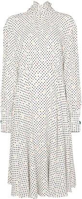 Christopher Kane Gathered Polka-Dot Midi Dress