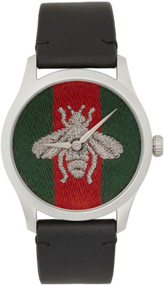 Gucci Black G-Timeless Web Bee Watch