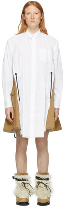 Sacai White and Beige Cotton Poplin Dress