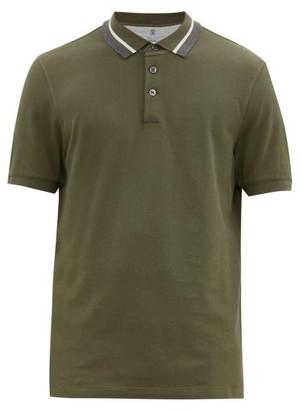 Brunello Cucinelli Striped-collar Cotton-pique Polo Shirt - Mens - Green