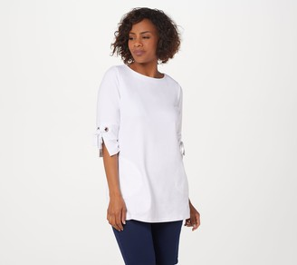 Denim & Co. Active French Terry Tunic with Grommet Detail