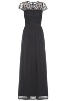 Quiz Black Chiffon Cap Sleeve Embellished Maxi Dress