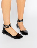 Daisy Street Multi Ankle Strap Black Flat Shoes