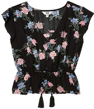 BB Dakota Falling For Me Printed CDC Blouse with Elastic Waist (Black) Women's Clothing
