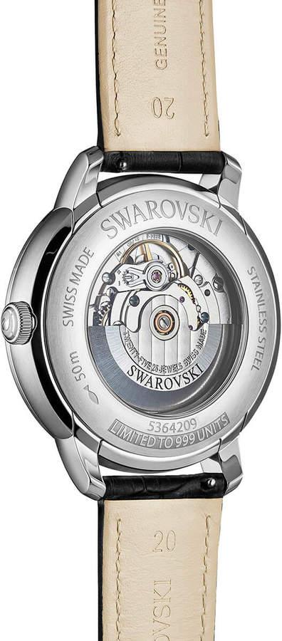 Swarovski Atlantis Limited Edition Automatic Men's Watch, Leather strap, Black, Silver tone
