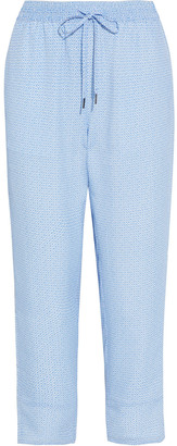 Joie Ceylon Cropped Printed Crepe De Chine Tapered Pants
